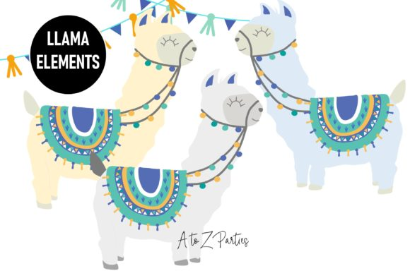 Print on Demand: Llama Clip Art Set Watercolor Blue Graphic Illustrations By A to Z Parties - Image 3