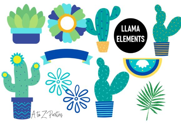 Print on Demand: Llama Clip Art Set Watercolor Blue Graphic Illustrations By A to Z Parties - Image 4