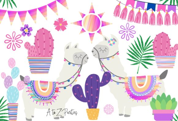 Print on Demand: Llama Clip Art Set Watercolor Pink Graphic Illustrations By A to Z Parties