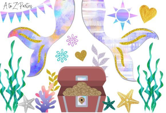 Print on Demand: Mermaid Watercolor Glitter Clip Art Set Gráfico Ilustraciones Por A to Z Parties