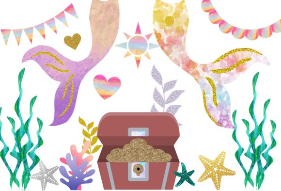 Print on Demand: Mermaid Watercolor Glitter Clip Art Set Graphic Illustrations By A to Z Parties