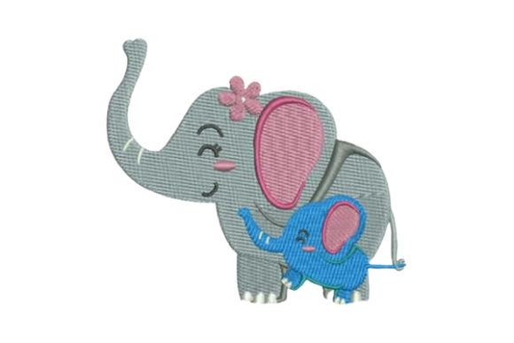 Mom and Baby Elephant Wild Animals Embroidery Design By Embroidery Designs