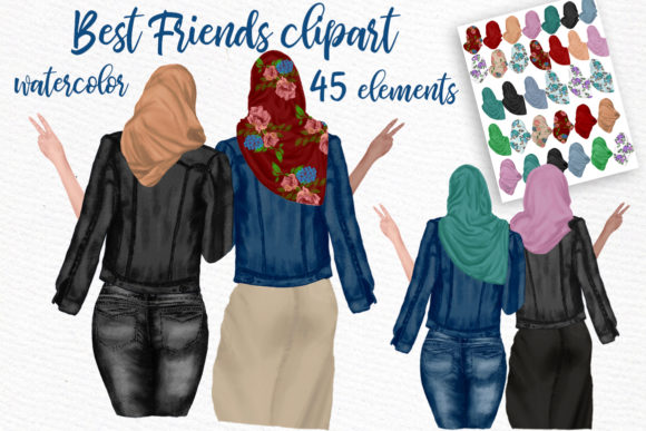Muslim Women Clipart Muslim Girls Graphic Illustrations By LeCoqDesign - Image 1