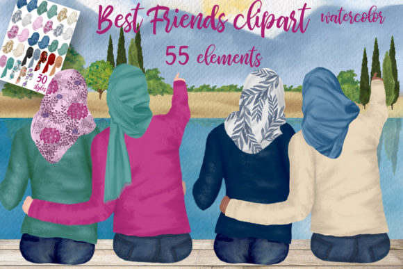 Muslim Women Hijab Clipart Graphic Illustrations By LeCoqDesign - Image 1