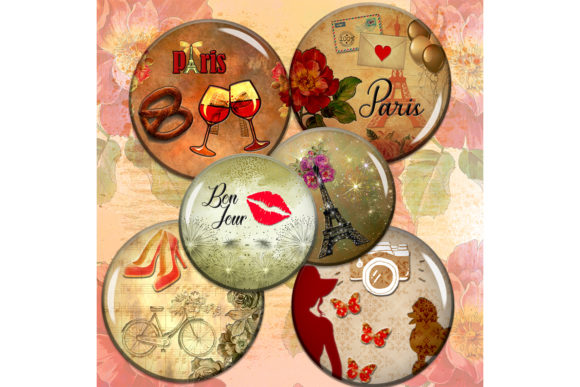 Paris Digital Collage Sheet Vintage Graphic Crafts By denysdigitalshop
