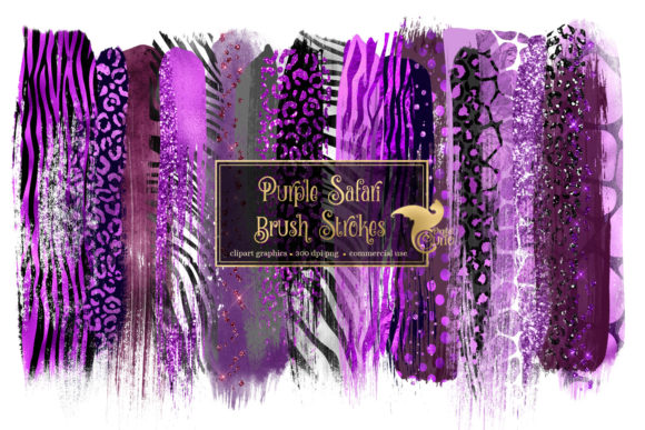 Purple Safari Brush Strokes Graphic Illustrations By Digital Curio