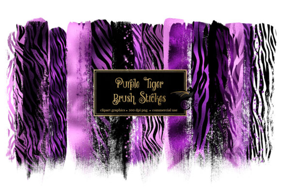 Purple Tiger Brush Strokes Graphic Illustrations By Digital Curio