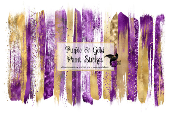 Purple and Gold Brush Strokes Clipart Graphic Illustrations By Digital Curio