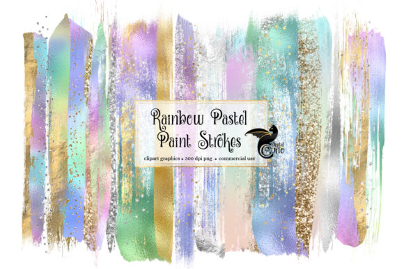 Rainbow Pastel Brush Strokes Graphic Illustrations By Digital Curio