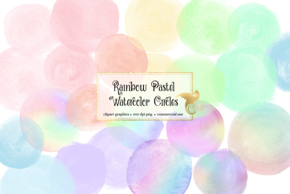 Print on Demand: Rainbow Pastel Watercolor Circles Graphic Illustrations By Digital Curio