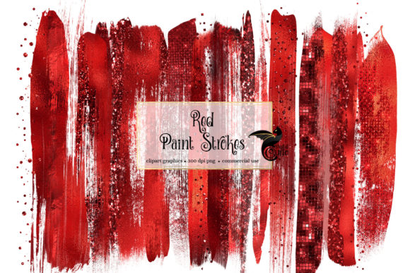 Print on Demand: Red Brush Strokes Clipart Graphic Illustrations By Digital Curio