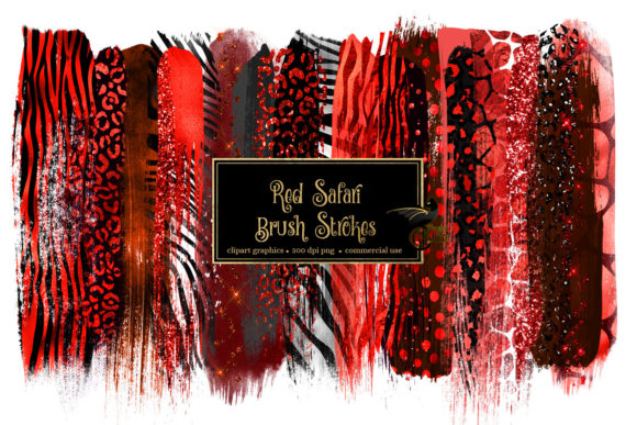 Red Safari Brush Strokes Clipart Graphic Illustrations By Digital Curio - Image 1