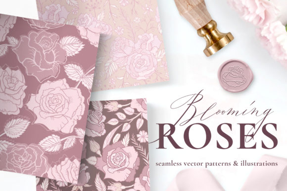 Rose Flower Patterns & Illustrations Graphic Illustrations By CatJello Graphics
