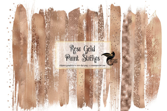 Rose Gold Brush Strokes Clipart Gráfico Ilustraciones Por Digital Curio
