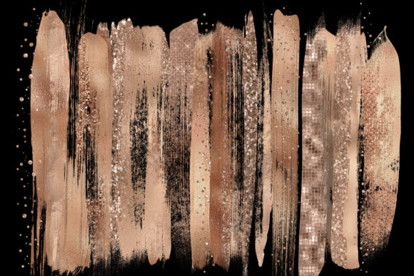 Rose Gold Brush Strokes Clipart Graphic Illustrations By Digital Curio - Image 2