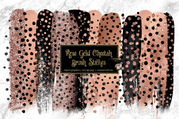 Rose Gold Cheetah Brush Strokes Clipart Grafik Illustrationen von Digital Curio