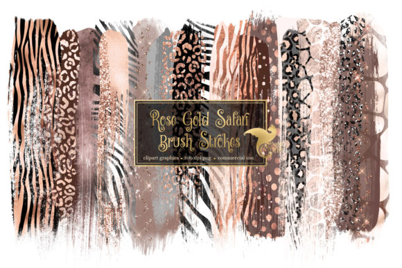 Rose Gold Safari Brush Strokes Graphic Illustrations By Digital Curio