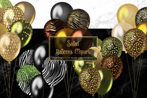 Print on Demand: Safari Balloons Clipart Graphic Illustrations By Digital Curio