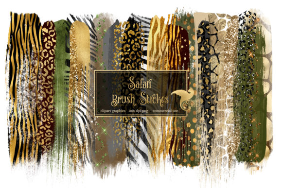 Print on Demand: Safari Brush Strokes Clipart Graphic Illustrations By Digital Curio - Image 1