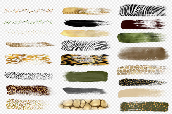 Print on Demand: Safari Brush Strokes Clipart Graphic Illustrations By Digital Curio - Image 4