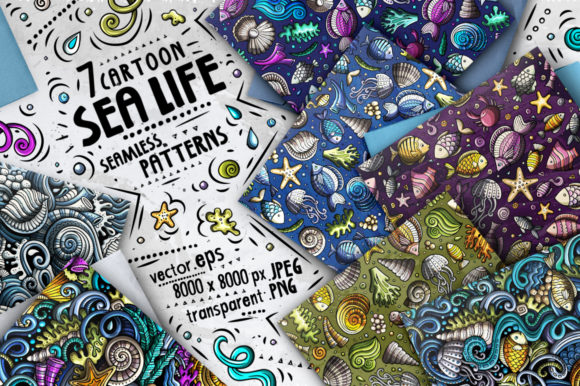 Sea Life Doodle Seamless Patterns Set Graphic Patterns By BalabOlka