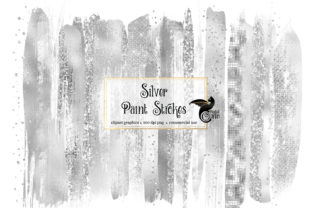 Print on Demand: Silver Brush Strokes Clipart Graphic Illustrations By Digital Curio