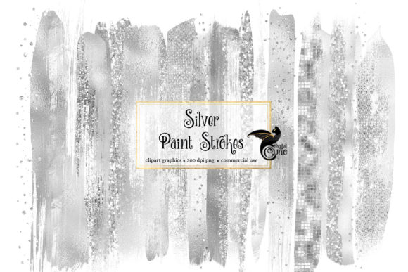 Silver Brush Strokes Clipart Graphic Illustrations By Digital Curio
