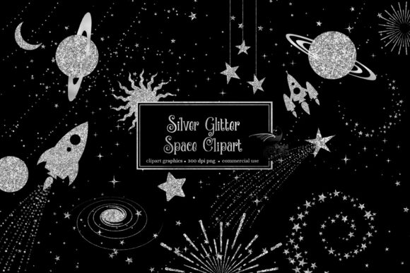 Download Free Silver Glitter Space Clipart Graphic By Digital Curio Creative for Cricut Explore, Silhouette and other cutting machines.