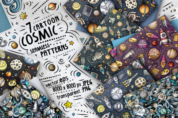 Space Cartoon Doodle Seamless Patterns Graphic Patterns By BalabOlka