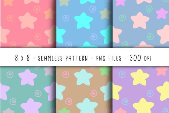Print on Demand: Stars and Squiggles Seamless Patterns Graphic Patterns By RoughDraftDesign