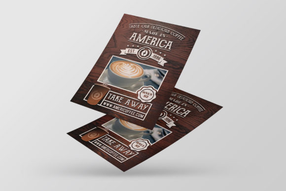 Download Free Take Away Coffee Shop Flyer Template Grafico Por Vectorwithin for Cricut Explore, Silhouette and other cutting machines.