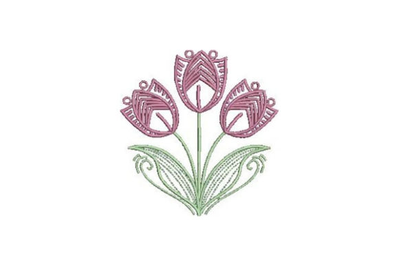 Tulips Outline Flowers Outline Flowers Embroidery Design By Embroidery Designs