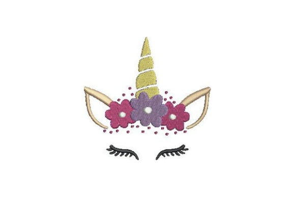 Unicorn Face with Flowers Märchen Stickdesign von Embroidery Designs