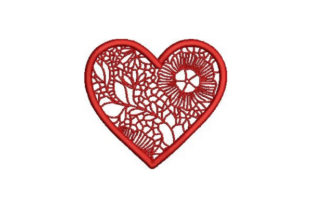 Victorian Valentine Outline Heart Valentine's Day Embroidery Design By Embroidery Designs