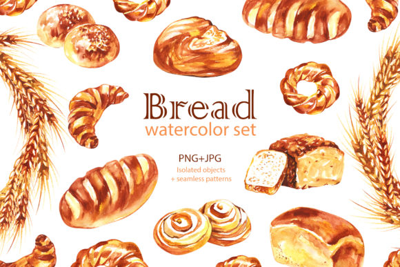 Watercolor Bread Cliparts Graphic Illustrations By NataliMyaStore