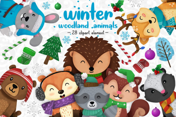 Print on Demand: Winter Woodland Animals Clipart Set 1 Graphic Illustrations By accaliadigital