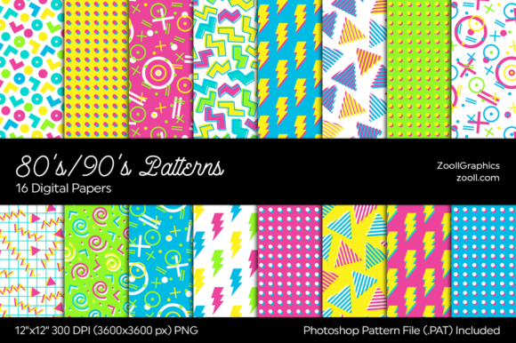 80's/90's Patterns Digital Papers Graphic Patterns By ZoollGraphics