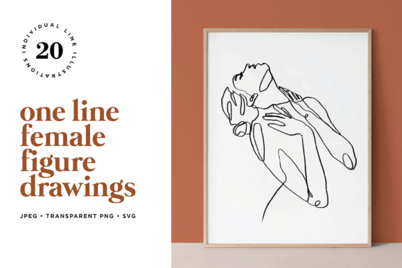 Abstract Female Figure Line Art Graphic Illustrations By roughedgessupply