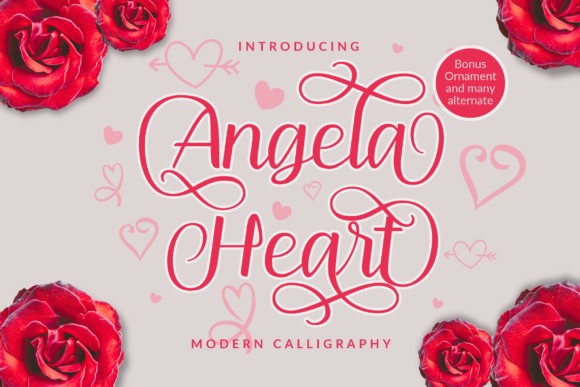 Print on Demand: Angela Heart Script & Handwritten Font By ahweproject