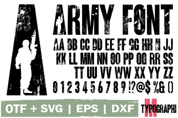 Download Free Army Font By Typography Morozyuk Creative Fabrica for Cricut Explore, Silhouette and other cutting machines.