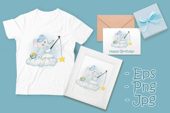 Print on Demand: Baby Elephant Fishing Star Graphic Illustrations By OrchidArt