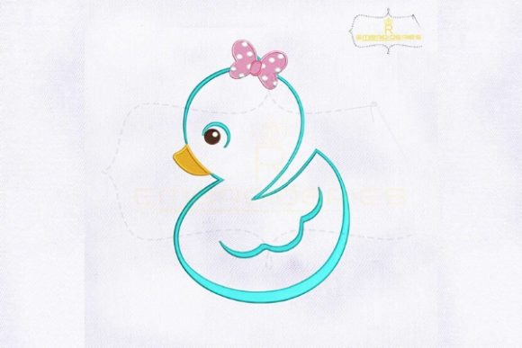 Baby Girl Duck Outline Baby Animals Embroidery Design By RoyalEmbroideries
