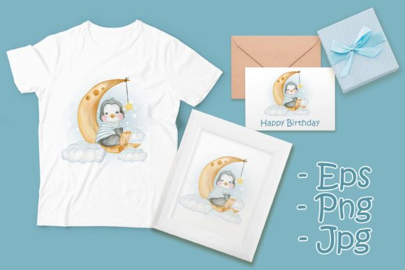 Print on Demand: Baby Penguin Sit over the Moon Grafik Illustrationen von OrchidArt
