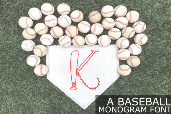 Print on Demand: Baseball Monogram Display Font By Justina Tracy