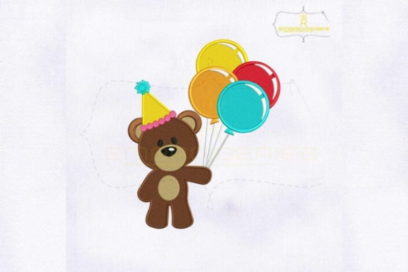 Birthday Bear Holding Baloons Baby Animals Embroidery Design By RoyalEmbroideries