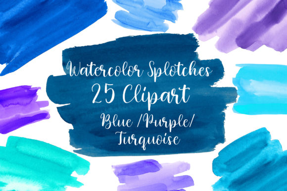 Blue Turquoise Watercolor Splotches Graphic Textures By PinkPearly