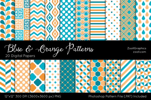 Blue and Orange Digital Papers Graphic Patterns By ZoollGraphics