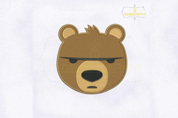 Brown Bear Face Emoji Woodland Animals Embroidery Design By royalembroideries