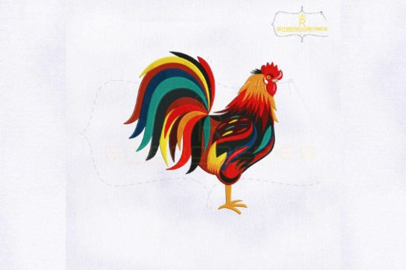 Colorful Rooster Farm Animals Embroidery Design By royalembroideries