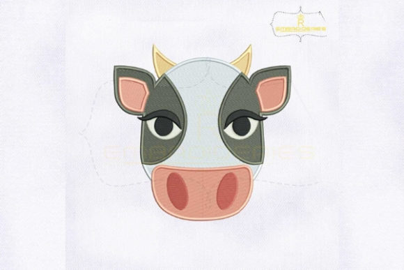 Cow Face Emoji Farm Animals Embroidery Design By royalembroideries